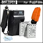 2 Pack Battery And Charger Kit For Fujifilm FinePix XP60, XP70, XP80 Waterproof Digital Camera Includes 2 Extended Replacement (1000Mah) For Fuji NP-45A, NP-45s Batteries + Ac/Dc Rapid Travel Charger + Floating Strap + Cleaning Cloth