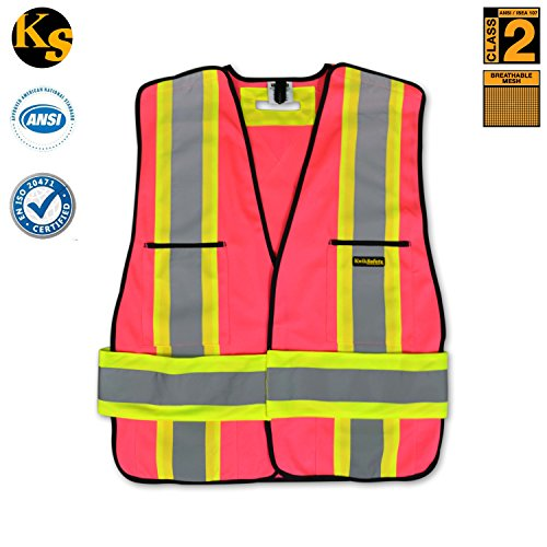 KwikSafety Pink Class 2 High Visibility Mesh Reflective Safety Vest with Pockets & Reflective
