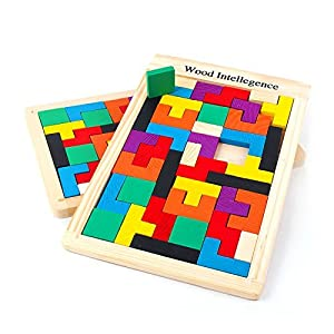 SainSmart Jr. CB-23 Wooden Tangram Jigsaw Tetris Puzzle Toy, Educational Game (40 Pieces)
