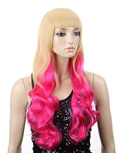 Cool2day Cosplay 67cm Long Curly Blonde Rose Pink Mix Hair Costume Party Wig JF011285