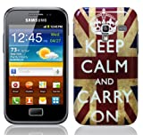 Glossy Union Jack (Keep Calm And Carry On) Design Hard Skin Back Case Cover For Samsung Galaxy Ace Plus S7500