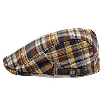 LOCOMO Checker Check Plaid Tartan Newsboy Beret Cap Hat Yellow FFH039YEL