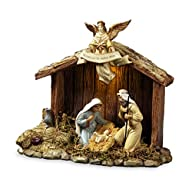 Nativity Stable with Holy Family Musical Nativity Set San Francisco Music Box Company