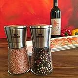 Salz und Pfeffermühle Set | 2-teiliges Set manuelle Design Mühlen mit Keramikmahlwerk für Salz und Pfeffer | Gewürzmühle aus Edelstahl | Kräutermühle | Salzmühle für Meersalz -