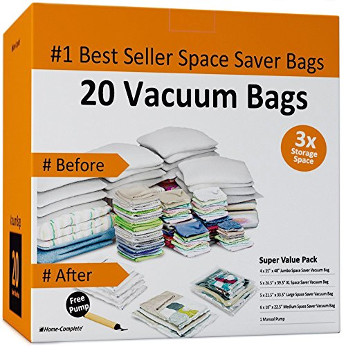 Home-Complete Vacuum Storage Bags - 20 Space Saver Bags (Vacuum Bags Space Saver compare prices)