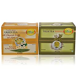 GTEE Green Tea Bags-Chamomile & Tulsi Tea Bags (25 Tea bags X 2PACKS)
