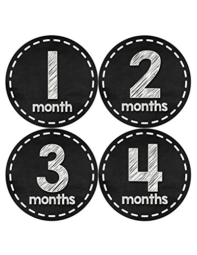 Months in Motion 433 Monthly Baby Stickers Baby Boy or Baby Girl Chalkboard White