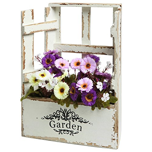 MyGift® Country Rustic White Window Design Wood Tabletop Garden Flower Box / Decorative Plant Stand