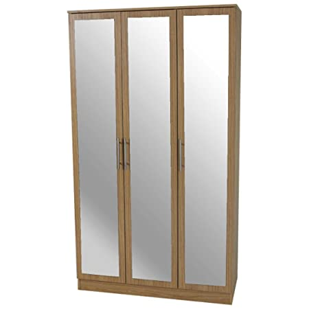 Devoted2Home Humber Bedroom Furniture with 3 Door Mirrored Wardrobe, Wood, Oak, 49.8 x 100.2 x 180 cm