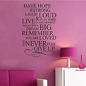 Wall Decor - Have Hope Family Rule Wall Stickers Decals Removable Art Vinyl Decor Home Kids Wallpaper from Mark8shop