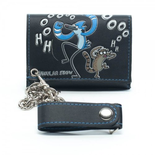 Regular Show Cartoon Network Tri Fold Mens Wallet with Chain