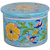 Shiv Kripa Blue Pottery Ceramic Decorative Box (12 Cm X 15 Cm X 12 Cm, BP25)