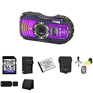 Pentax Optio WG-3 16MP Waterproof Digital Camera with GPS (Purple) + 16GB SDHC Memory Card (Class 10) + Extra LI-50B Battery + External Rapid Charger + Carrying Case + Mini Tripod Kit + USB SDHC Reader + Memory Wallet