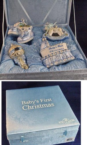 "4-Piece Blue ""Baby's First Christmas"" Boy Glass Ornament Boxed Gift Set"