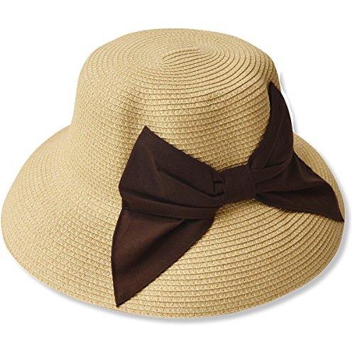 夏の紫外線対策 折りたたみ可能なUVカットできる大きいリボンのつば広帽子 000399-0072-58