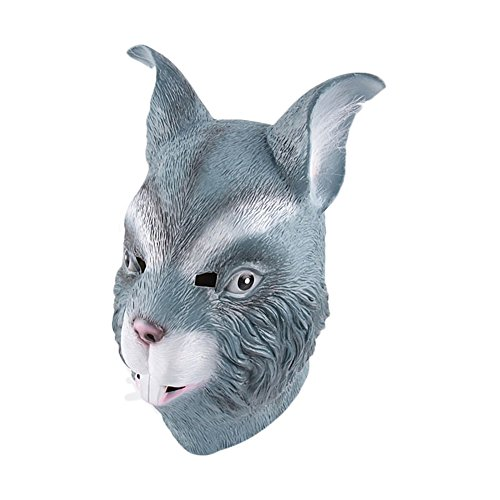 KM Halloween Animal Rabbit Head Latex Masks Masquerade Mask Party Mask