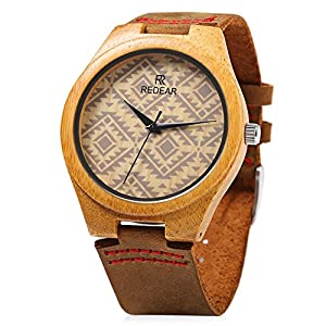 REDEAR Mens Bambooo Wooden Quartz Watch Leather Strap Analog Casual Wood Waterproof Wristwatch (Brown)