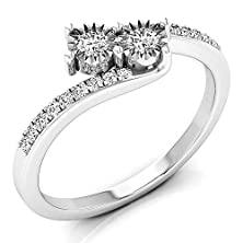 buy 0.25 Carat (Ctw) 10K White Gold White Diamond Two Stone Bridal Engagement Ring 1/4 Ct (Size 4.5)