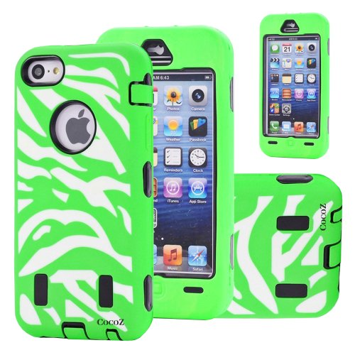 Cocoz® Deluxe Printed Hard Soft High Impact Hybrid Case Combo for Apple Iphone 5c (Iphone 5c, Zebra Hot Green)--0002