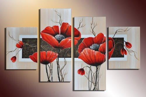 Barato poppy m10 4 imagen cuadros en - Cuadros pintados a mano online ...
