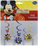 Mickey Mouse Party Hanging Swirl Decorations x 6