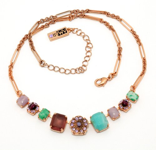 Amaro Jewelry Studio 'Spring Vibration' Collection 24K Rose Gold Plated Beautiful Chain Made with Flower, Accented with Rainbow Fluorite, Labradorite, Amethyst, Amazonite and Swarovski Crystals