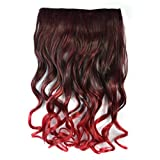 Colorlife 24 Inch/ 60cm Black To Wine Red Ombre Color Curly Synthetic Hair Extension With 5 Clips