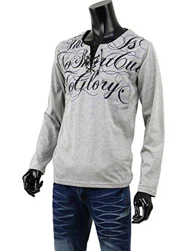 トップス 長袖 Tシャツ メンズ カットソー プリント 英字 ヘンリーネック レースアップ B-08-WY8308