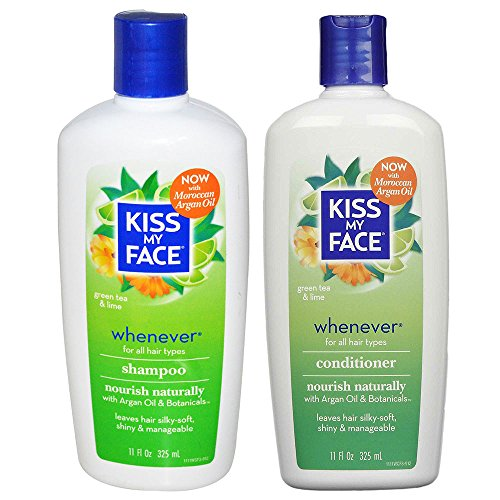 Kiss My Face All Natural Organic Whenever Shampoo and Conditioner With Moroccan Argan Oil For Hair, Vitamin E, Sage, Lavender, Green Tea, Chamomile and Eucalyptus For All Hair Types, 11 fl. oz. each