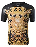 SMITHJAY Mens Hipster Hip-Hop Crown Medusa Sublimation PU Sleeves Tee by NYC Leather Factory Outlet