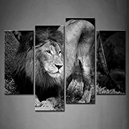 Modern Home Decoration painting 4 Panel Wall Art Black And White Black And White Lion Portrait The Picture Print On Canvas Animal Pictures piece