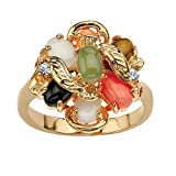 Oval Multi-Color Genuine Coral, Opal, Jade, Onyx and Tiger's-Eye Cluster 14k Gold-Plated Ring Size 9