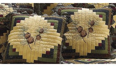 Donna Sharp Barn Raising Pine Cone Hand Quilted Throw Pillow