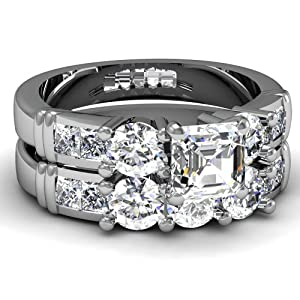 1.55 Ct Asscher Cut Diamond Wedding Rings Set SI1-I 14K White Gold Ring Size-6