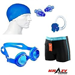 Krazy Swimming Kit (Silicon Ear Plug,Swimming Cap ,Swimming Nose Clip, Swimming Goggles With Authentic Men Adult Swim Trunks Boxer Nylon)