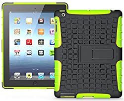 Heartly Flip Kick Stand Hard Dual Armor Hybrid Bumper Back Case Cover For Apple iPad Mini 2 and iPad Mini 3 Tablet With Retina Display - Green