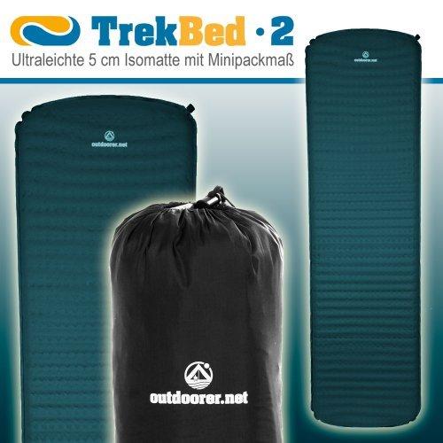 Trek Bed 2, ultraleicht, 5cm selbstaufblasbare Isomatte, kleines Packmaß
