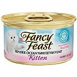 Fancy Feast Wet Cat Food, Kitten, Tender Ocean Whitefish Feast, 3-Ounce Can, Pack of 24