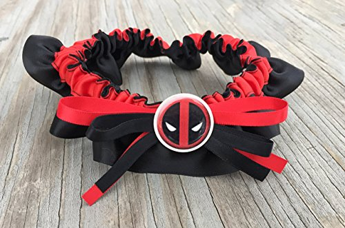 SEXY Superhero Character Inspired Red & Black Bridal Satin Wedding Keepsake Or Garter SET
