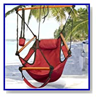 Deluxe Red Sky Air Chair Swing Hanging Hammock Chair with Pillow & Drink Holder