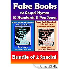 Piano Song Books - Fake Book 1 & 2 - Music Sheet, Song Charts, Reharmonization Chord Charts - 10 Gospel Hymns & 10 Standards and Popular Songs - Bundle of 2 Books: Learn Piano Songs (English Edition)