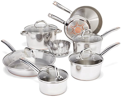 T-fal C836SD Ultimate Stainless Steel Copper-Bottom Heavy Gauge Multi-Layer Base Cookware Set, 13-Piece, Silver (Pot And Pan Set Copper compare prices)