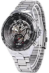 AMPM24 Silver Steel Skeleton Dial Automatic Mechanical Men's Black Round Watch PMW107