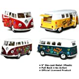 "Set of 4: 5"" Classic 1962 Volkswagen Van with Decal 1:32 Scale (Green/Maroon/Red/Yellow)"
