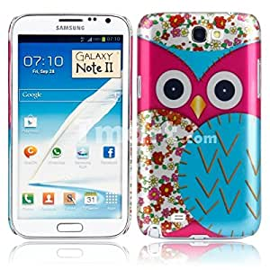 Plastic Protective Case with Big Owl Pattern for Samsung N7100 Rose Red