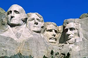 historic MT. RUSHMORE poster PRESIDENTIAL PORTRAITS in stone US MEMORIAL 24X36