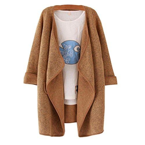 EKIMI Women's Solid Lapel Long Sleeve Loose irregular Sweater Coat (Khaki)