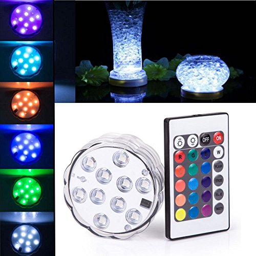 Submersible 10 LED Waterproof Light RGB for Vase Wedding Party Fish Tank Decors (48 Inch Full Spectrum Led compare prices)