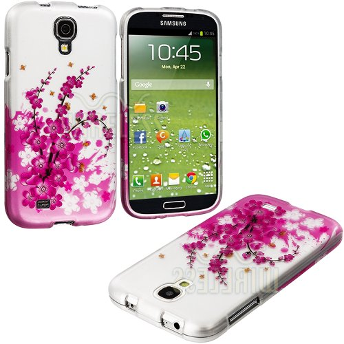 "Mylife (Tm) Pink + White Cherry Blossoms And Bees Series (2 Piece Snap On) Hardshell Plates Case For The Samsung Galaxy S4 ""Fits Models: I9500, I9505, Sph-L720, Galaxy S Iv, Sgh-I337, Sch-I545, Sgh-M919, Sch-R970 And Galaxy S4 Lte-A Touch Phone"" (Clip Fit"