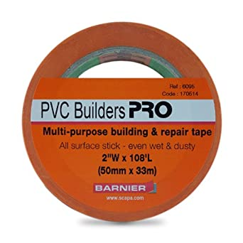 "Barnier 6095 PVC Builders PRO Rubber Adhesive Tape, 0.125mm Thick, 108' Length x 2"" Width, Orange"